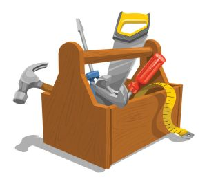 37602086 - vector illustration of wooden toolbox with repairing tools.